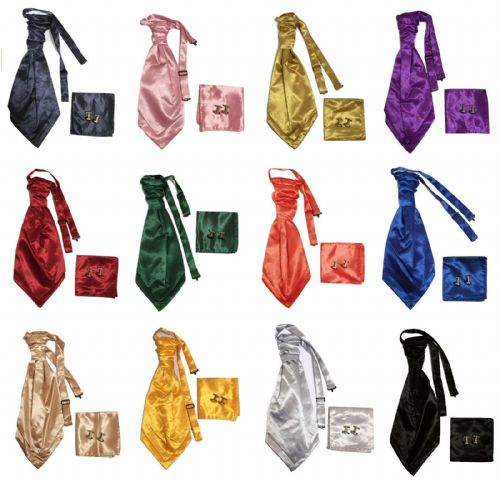 Adult Mens Satin Wedding Ruche Cravat Tie + handkerchief hanky +cuff links Set